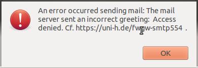 LUIS - SMTP-Fehlermeldung aufgrund von Firewalling